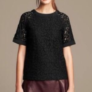 Banana Republic Black Raglan Lace Short Sleeve Top